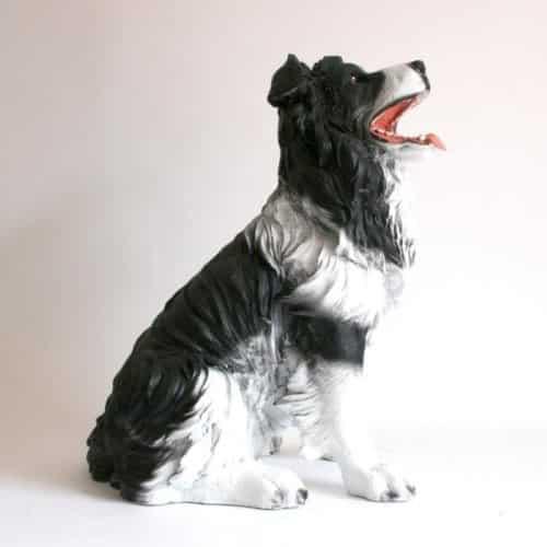 Gartenfiguren kaufen: Hundefigur Border Collie lebensgroß sitzend