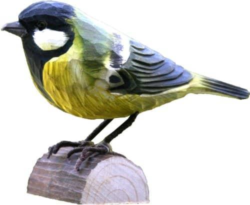 Holzvogel Kohlmeise handgeschnitzt