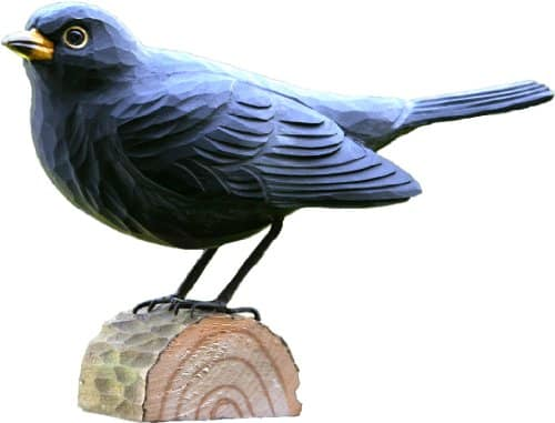 Holzfigur Amsel Holzvogel - dekorativer bezaubernder Gartenvogel
