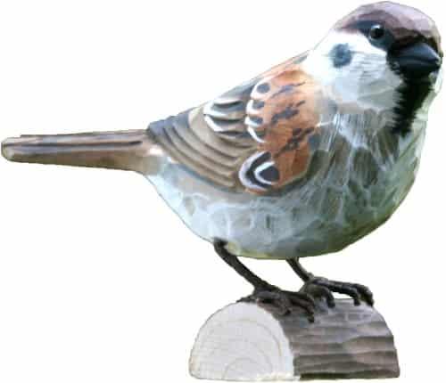 Handgeschnitzter Holzvogel Feldsperling Gartendekoration.
