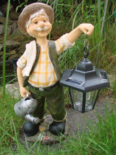 Opa Hans - Gartenfigur mit Solar - Laterne und Sensor