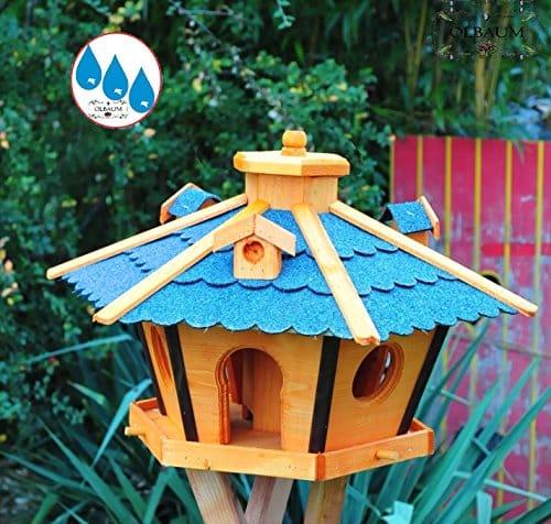 Holz Vogelhaus mit Futtersilo für Winterfütterung