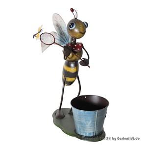 Gartenfigur - Biene mit Pflanztopf und Kescher