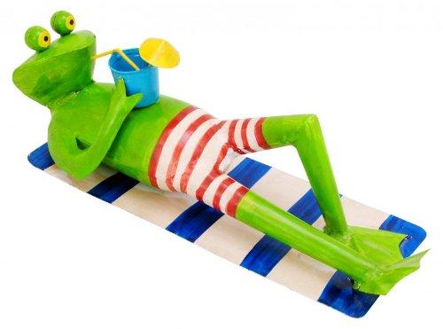Deko Frosch auf Handtuch - Poolfigur