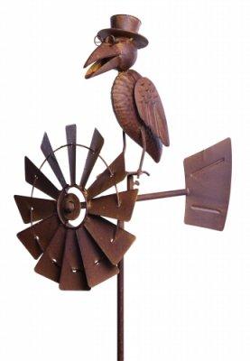 Gartenfiguren kaufen: Metall Windrad Rabe