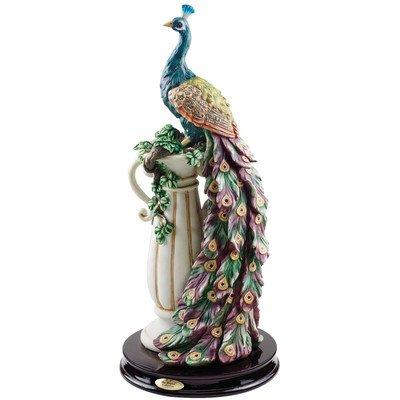 Gartenfigur Pfau Skulptur mit Sockel