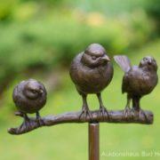 Gartenstecker Vogelgruppe Bronze