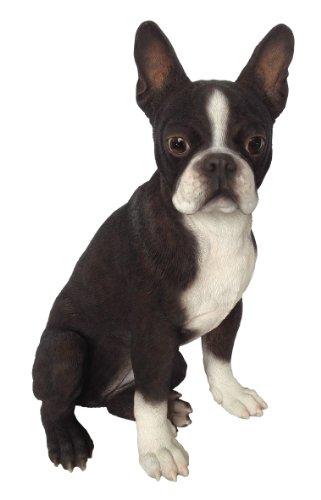 Gartenfiguren kaufen: Deko Hund Boston Terrier aus Kunstharz