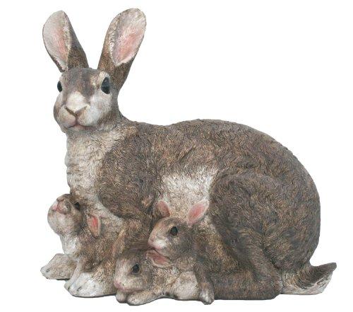 Gartenfiguren kaufen: Deko Gartenfigur Häsin mit Kanninchen
