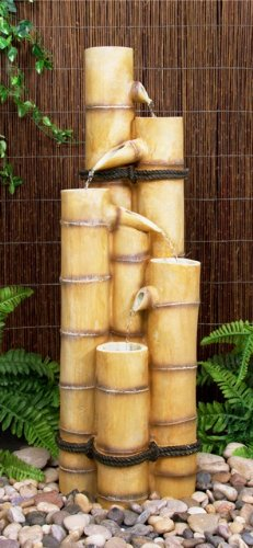 5-stufiger Bambus Brunnen aus Kunstharz