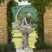 Große Steinguss Elfenfigur – Antikgrau