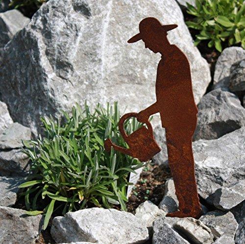 Rostfigur Gärtner mit Gießkanne