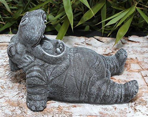 Gartenfiguren kaufen: Gartenfigur Nilpferd Steinguss Schiefergrau