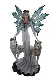 Avatar Deko Elfenfigur mit 2 weissen Wölfen