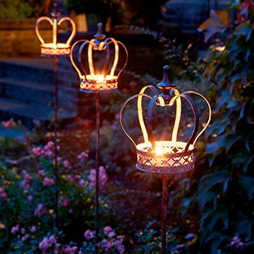 Gartenstecker für Kerzen mit Krone, 3er-Set