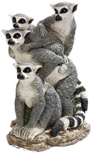 Gartenfigur Lemuren Familie mit geringeltem Schwanz