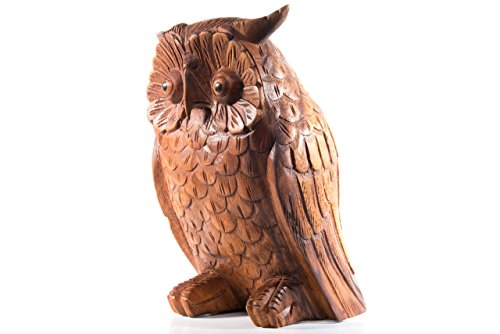 Gartendeko Holzfigur Eule - RUDY - 20 cm