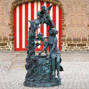 Bronze Brunnen mit Engelfiguren - Patience