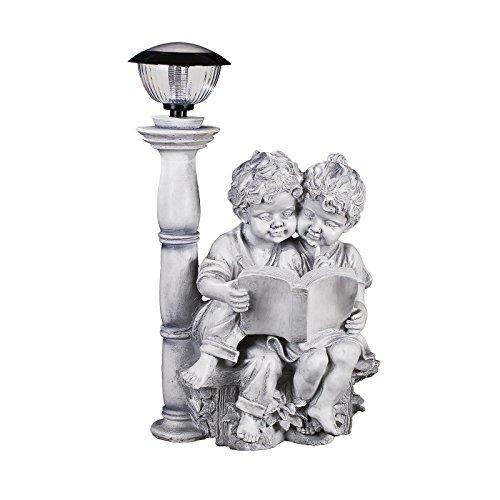 Kinderfiguren Paar 65 cm hoch mit LED Solar Lampe
