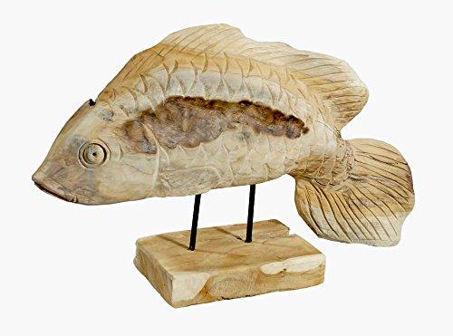 Fisch aus Teakholz Skulptur ✅ liebevolle Handarbeit ✅ naturbelassen und witterungsbeständig ✅ Geschenkidee für Angler ✅ Gartenfigur Kaufftipp!