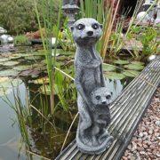Steinfigur Erdmännchen mit Kind Gartenfigur