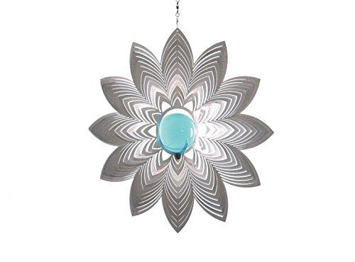 Illumino Edelstahl Windspiel mit Glaskugel