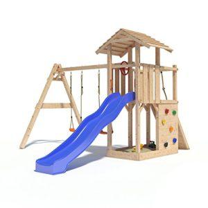 Spielturm mit Schaukelanbau, Doppelschaukel, Rutsche, Kletterwand, Lenkrad und Kletterrampe auf 1,20 Meter Podesthöhe