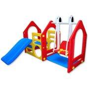 Kinder Spielhaus mit Rutsche & Schaukel – LittleTom
