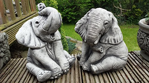 Deko Elefanten Paar - Kunststein handgegossen