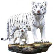 Weiße Tigermutter mit Babytiger handbemalt