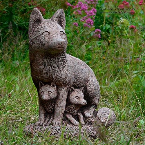 Gartenfigur Fuchs Familie