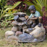 Springbrunnen Junge mit Schildkröte Wasserspiel