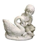 Mädchen mit Schwan – Steinguss – Figur mit Pflanztopf – frostfest