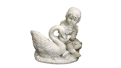 Mädchen mit Schwan - Steinguss - Figur mit Pflanztopf - Frostfest