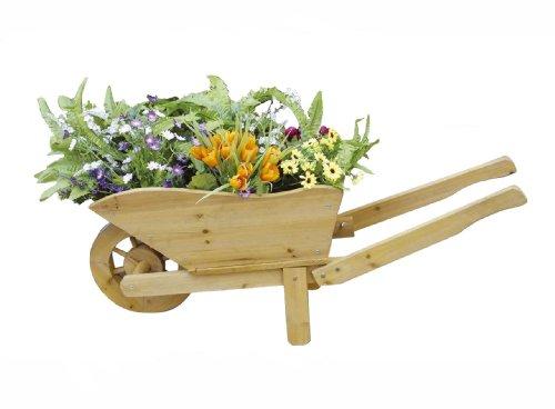 Pflanzen schubkarre deko pflanzk bel aus holz gartendeko - Gartenfiguren holz ...