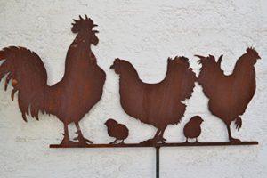 Gartenstecker Edelrost Hühner - Rostdeko Familie