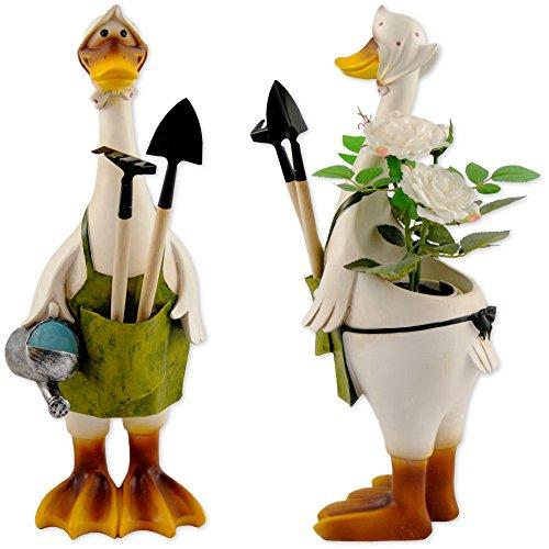 Deko Ente mit Harke und Schaufel (2er Set)