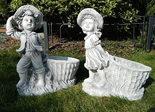 Mädchen & Junge mit Pflanztopf - Gartenskulptur (2er Set)