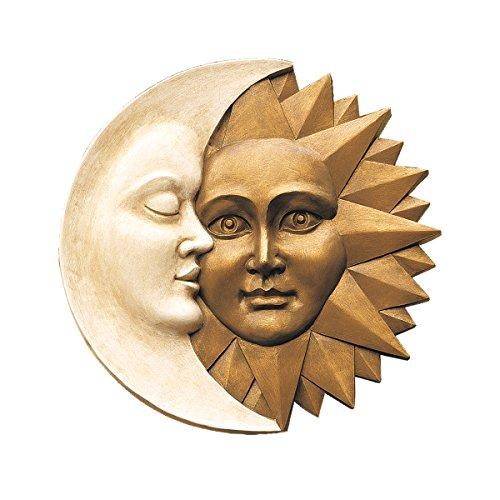 Wandskulptur Mond und Sonne - Blattmaske