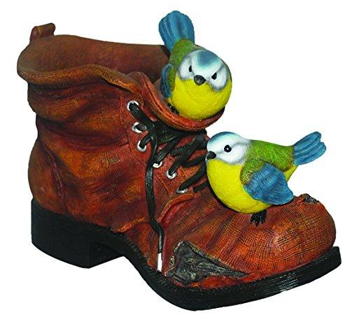 Übertopf Alter Stiefel mit Vogelpaar, Blaumeisen