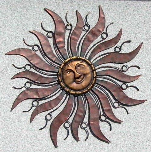 Sonne aus Metall - Wandschmuck Anhänger 96 cm