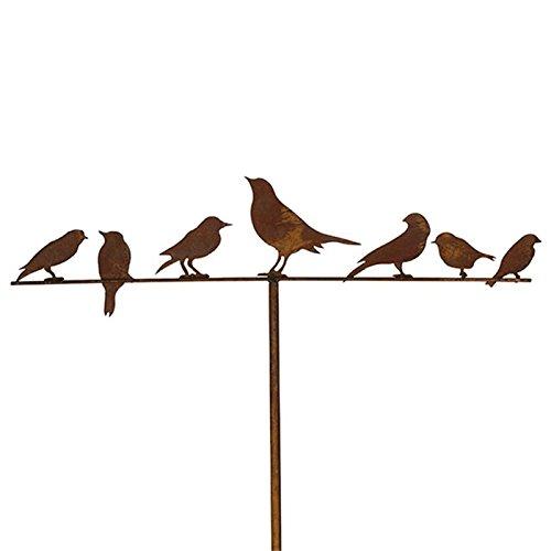 Rostdeko Gartenstecker Vögel 7er 118 cm Metall