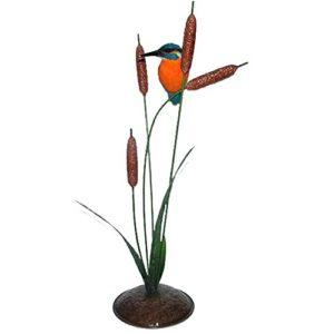 Eisvogel auf Binsen (aus Metall), Kunstharz Gartendeko