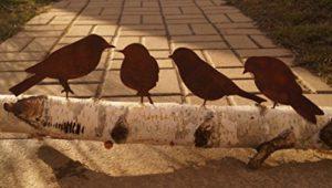 Edelrost Vogel mit Schraube 4er Set zum Eindrehen in Holz