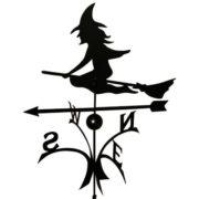 Wetterfahne kugelgelagert Hexe aus schwarzem Stahl